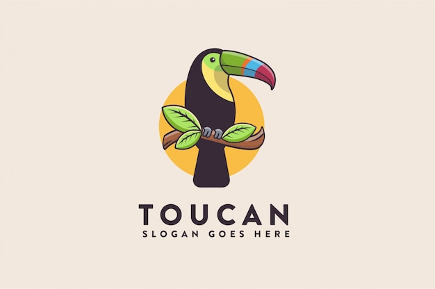 Logo de toucan de dessin animé amusant colorfull