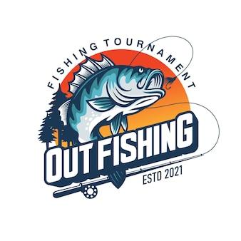 Logo de tournoi de pêche isolé sur blanc