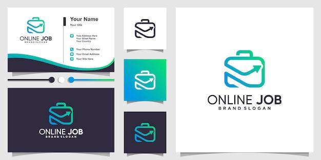 Logo de travail en ligne avec un concept de forme unique moderne et un modèle de conception de carte de visite vecteur premium
