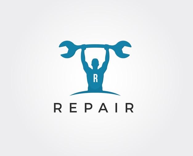 Logo de travailleur géométrique rugueux simple. service de réparation de voiture