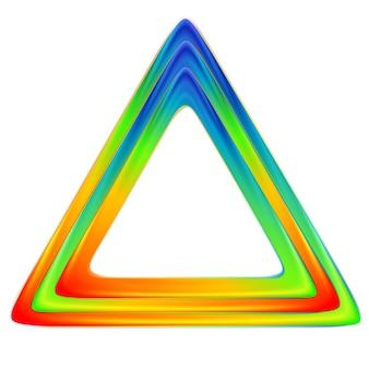 Logo triangulaire lumineux. couleurs arc-en-ciel. conception de vecteur