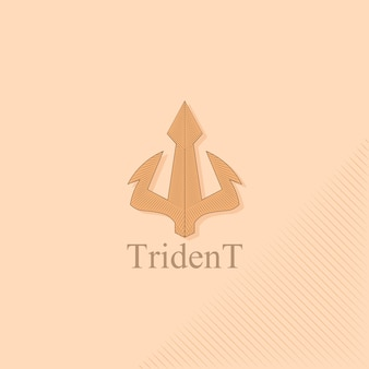 Logo trident au style vintage