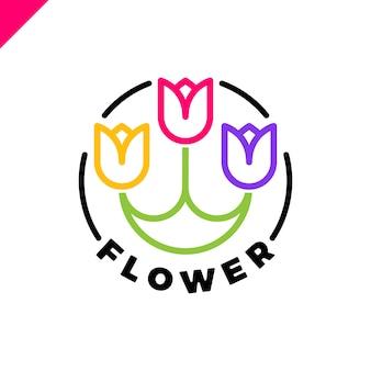 Logo de trois fleurs dans le style de ligne en cercle. icône de tulipe spa. cosmétiques hotel garden salon de beauté concept de logotype.
