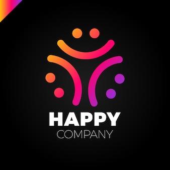 Logo de trois personnes souriantes - happy community icon
