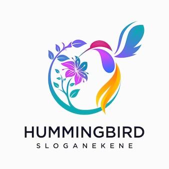 Logo tropical de fleur d'oiseau de colibri
