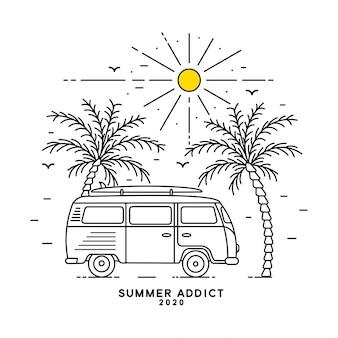 Logo tropical avec palmier monoline