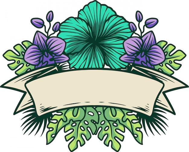 Logo tropical avec ruban
