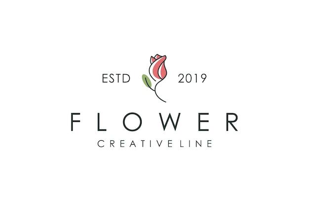 Logo de tulipe, illustration vectorielle avec style de contour