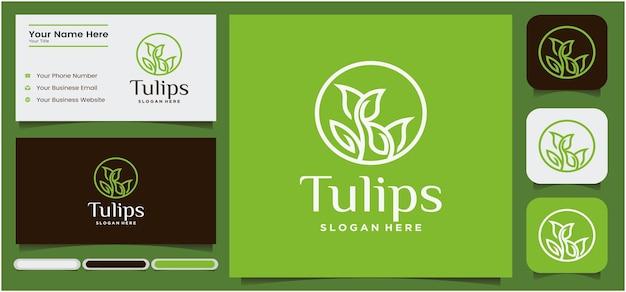 Logo de tulipe linéaire abstrait symbole de bourgeon de fleur avec cosmétique ou boutique de salon de spa concept rond