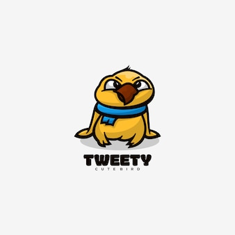 Logo tweet style de mascotte simple.