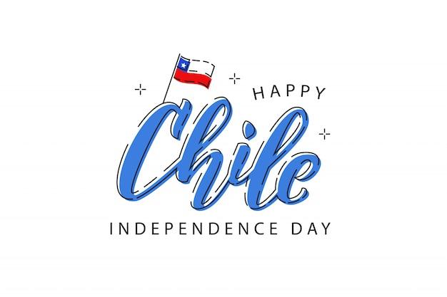 Logo de typographie réaliste pour la fête de l'indépendance au chili avec des dessins au trait mince pour la décoration et la couverture sur fond blanc. concept de felices fiestas patrias.