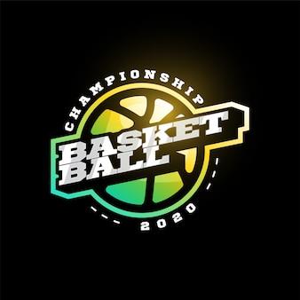 Logo de typographie de sport professionnel moderne de basket-ball dans un style rétro. emblème de conception, insigne et création de logo de modèle sportif.