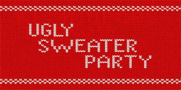 Logo de typographie tricoté isolé réaliste de vecteur de ugly sweater party pour la décoration de modèle et l'invitation couvrant sur le fond de pull rouge. concept de bonne année.