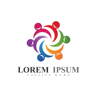 Logo d'union ou de travail d'équipe et image vectorielle de symbole