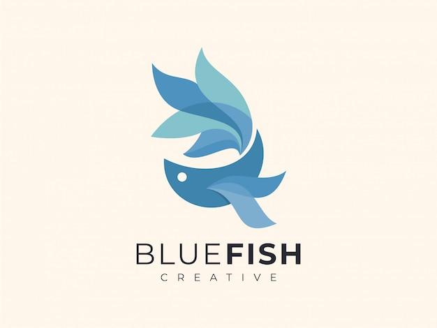 Logo unique de couleur bleu dégradé de poisson betta