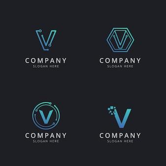 Logo v initial avec éléments technologiques de couleur bleue
