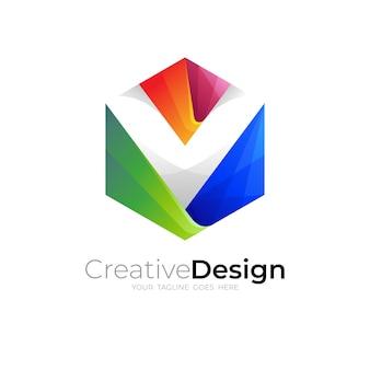 Logo v, logo lettre v et combinaison de conception hexagonale