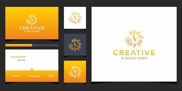 Logo v luxe avec modèle de carte de visite