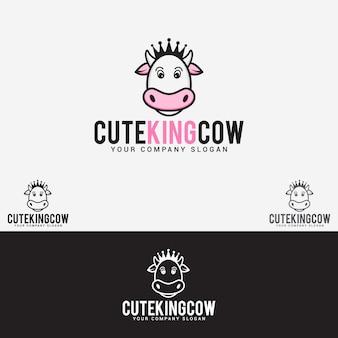 Logo de vache roi mignon