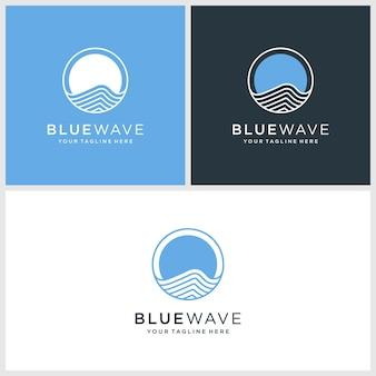 Logo de la vague bleue, cercle, eau, vecteur premium