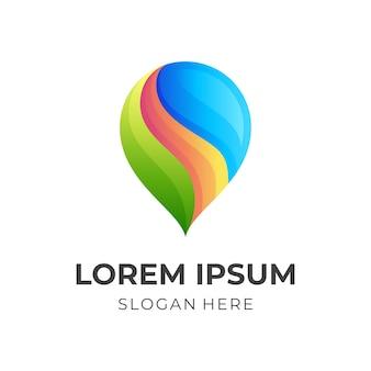 Logo de vague de broche, broche et vague, logo de combinaison avec un style coloré 3d