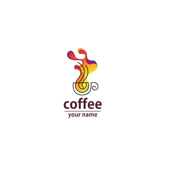 Logo vague de café abstrait coloré