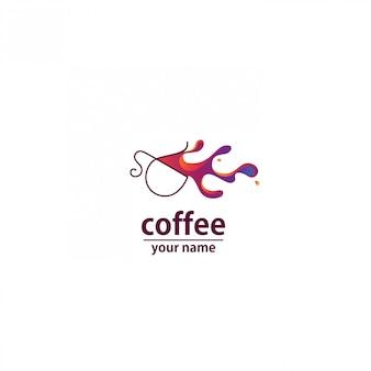 Logo vague de café abstrait coloré