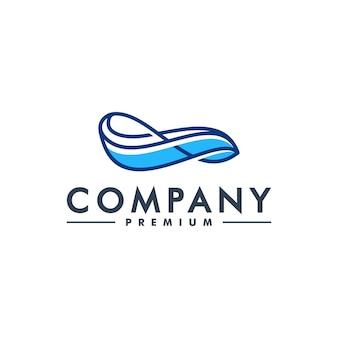 Logo vague vecteur eau mer océan flux icône bleue