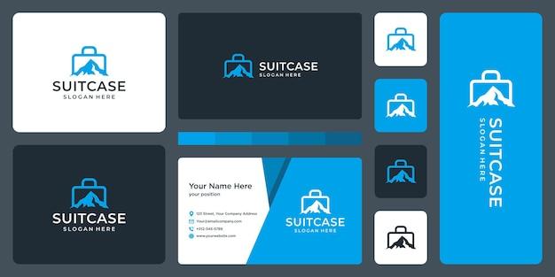 Logo valise et logo montagne. conception de carte de visite