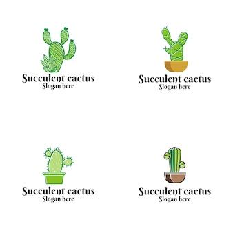 Logo de vecteur de cactus succulentes