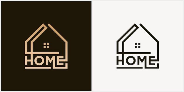 Logo vectoriel abstrait combinant maison et police logo mot-symbole maison société immobilière