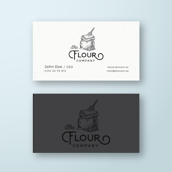 Logo vectoriel abstrait de l'entreprise de farine et sac de farine de modèle de carte de visite avec scoop sketch dr...