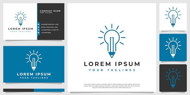 Logo vectoriel une combinaison d'une ampoule avec un crayon