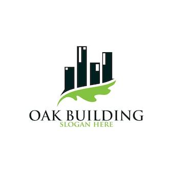 Logo vectoriel de construction de feuilles de chêne isolé. modèles de logos.