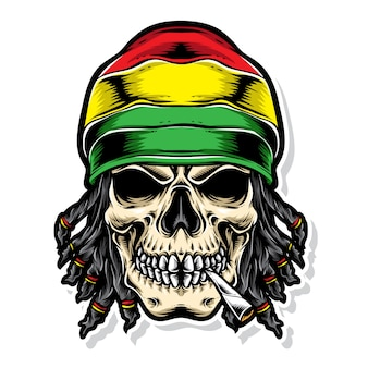 Logo vectoriel de crâne rasta