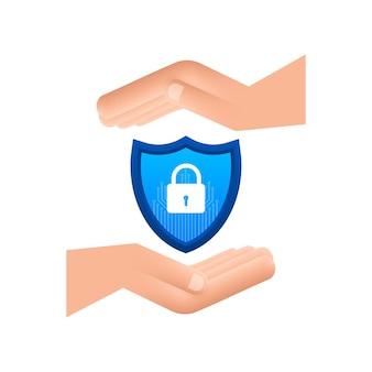 Logo vectoriel de cybersécurité avec bouclier et coche mains tenant une pancarte sécurisée cyber