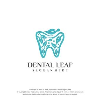 Logo vectoriel dentaire et feuille
