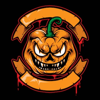 Logo vectoriel effrayant écusson citrouille