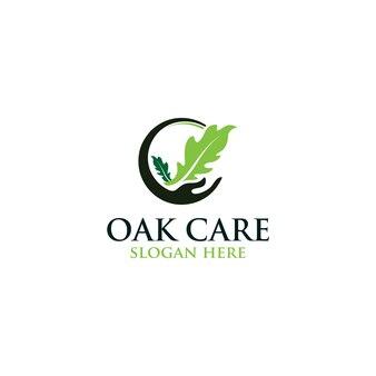 Logo vectoriel de feuille de soins de chêne isolé. modèles de logos.