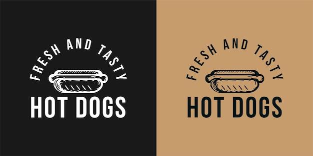 Logo vectoriel de hot-dog, restauration rapide, malbouffe. illustration vectorielle vintage