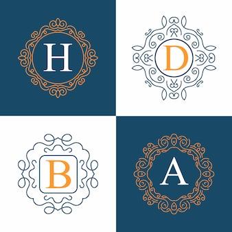 Logo vectoriel monogramme vintage défini.