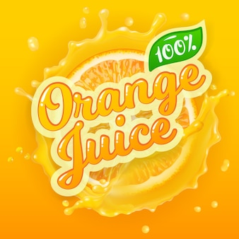 Logo vectoriel pour le jus d'orange sur fond d'éclaboussure avec une tranche d'orange