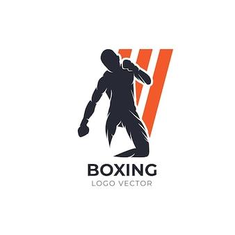 Logo vectoriel silhouette de boxe