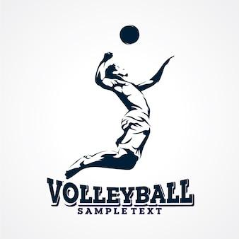 Logo vectoriel de volleyball, vecteur de silhouette premium