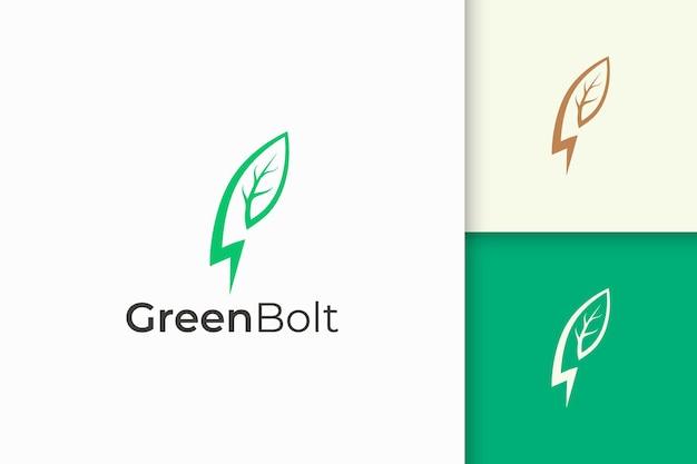 Logo végétal et éclair de forme simple et moderne