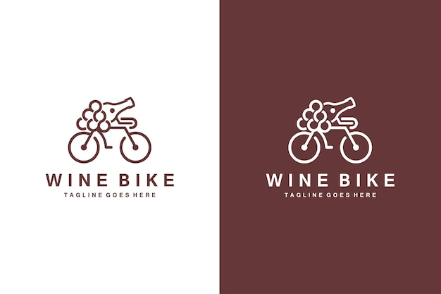 Logo de vélo de vin et vecteur de vin