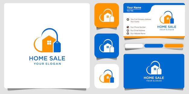 Logo de vente d'amour à la maison et conception de carte de visite de vecteur premium vecteur premium