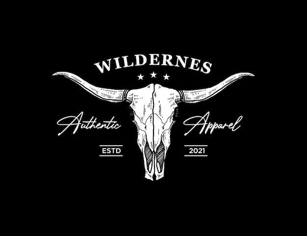 Logo de vêtements vintage avec crâne longhorn