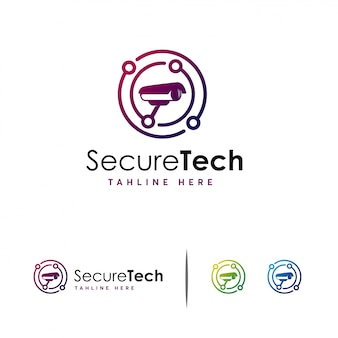Logo de vidéosurveillance secure tech, logo camera technology