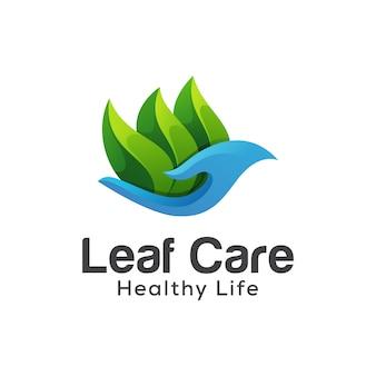 Logo de vie saine de soins de feuille, modèle de vecteur de conception de logo dégradé de feuilles de santé